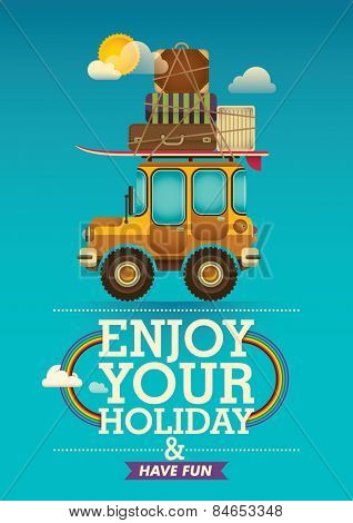 Traveling poster with jeep. Vector illustration.