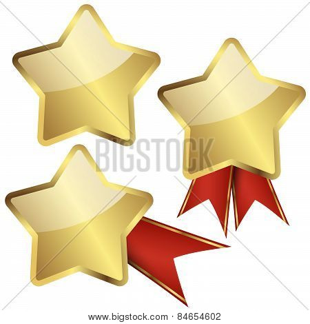 Template Golden Star With Ribbons
