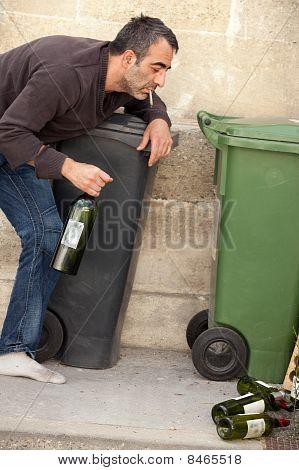 Drunk Man On Sidewalk