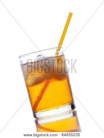 Yellow Drink With Ice On A White Background
