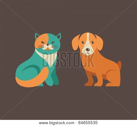 Collection of cute cat and dog vector icons and illustrations