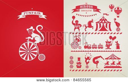 vintage poster with carnival, fun fair, circus vector background and illustration