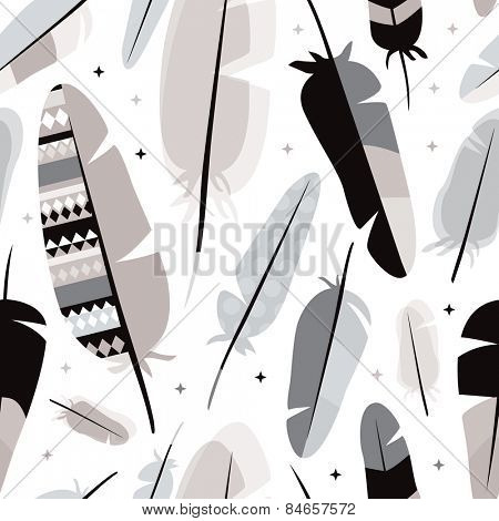 Seamless black white and pastel gray indian summer feathers illustration background pattern in vector