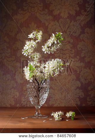 Blossoming plum branch in a glass vase