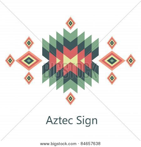 Vector Aztec Sign On White Background