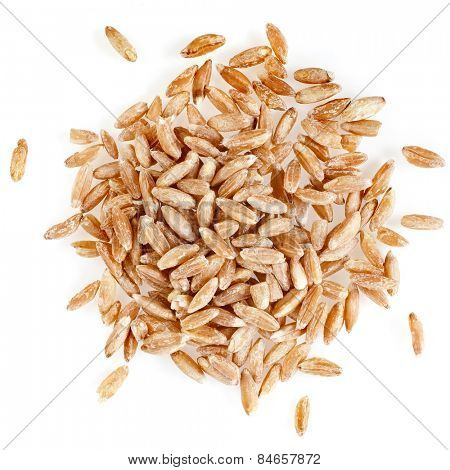 Portion of Spelt Close up top view surface isolated on pure white background