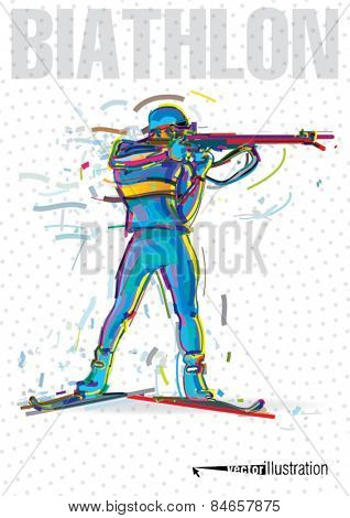 The biathlete preparing to the shooting. Vector artwork in the style of paint strokes