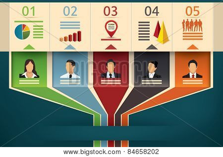 Business flow chart vector infographic template showing team members or management with designated fields of expertise cooperating and working in unity to an outgoing arrow