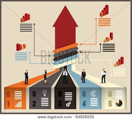 Business team flow chart infographic with various businesspeople and executives combining their skills and expertise on a project leading to an upward pointing arrow, vector illustration with graphs