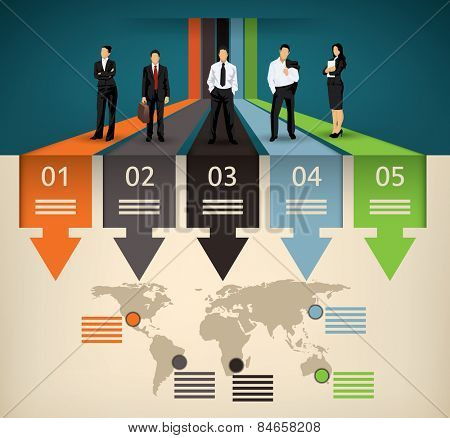 Infographic template of five different option and a world map with points of interest and a business team people illustration