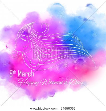 illustration of face of lady in Happy Women's Day concept