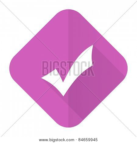accept pink flat icon check sign