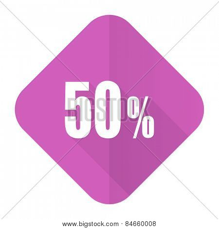 50 percent pink flat icon sale sign