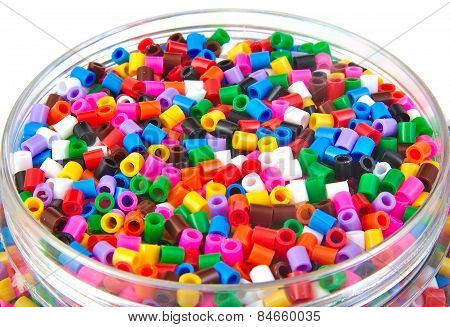 Colourful plastic small cylinders toys