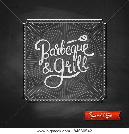 Poster of Barbecue and Grill on Black Chalkboard
