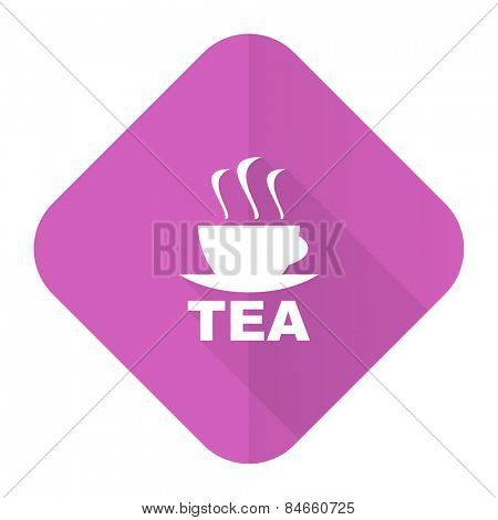 tea pink flat icon hot cup of tea sign