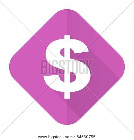 dollar pink flat icon us dollar sign