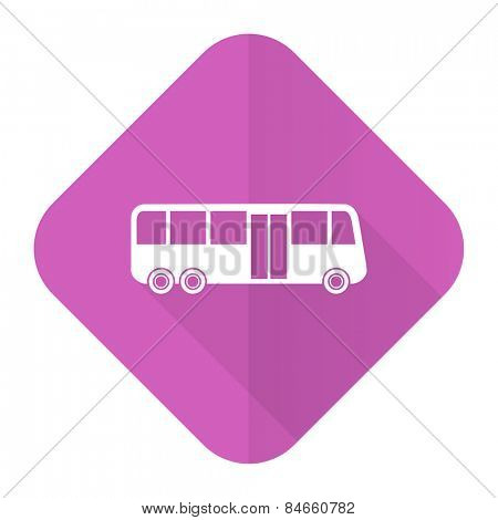 bus pink flat icon public transport sign