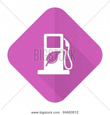 biofuel pink flat icon bio fuel sign