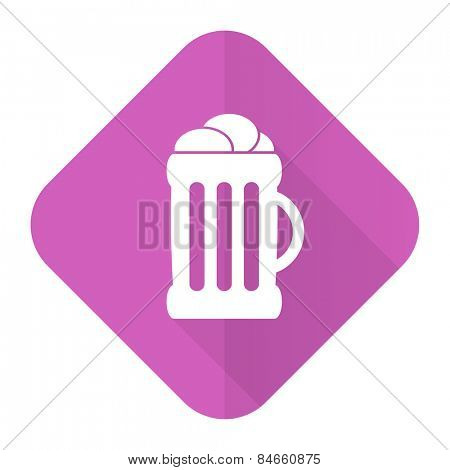 beer pink flat icon mug sign