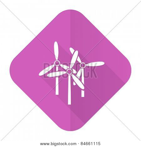 windmill pink flat icon renewable energy sign