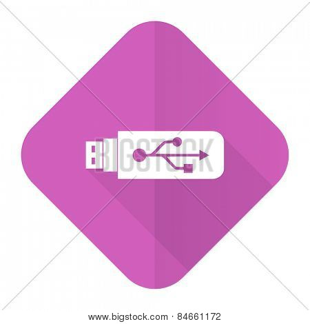 usb pink flat icon flash memory sign