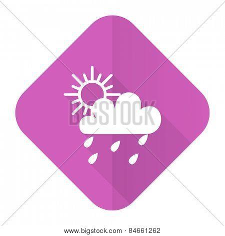 rain pink flat icon waether forecast sign