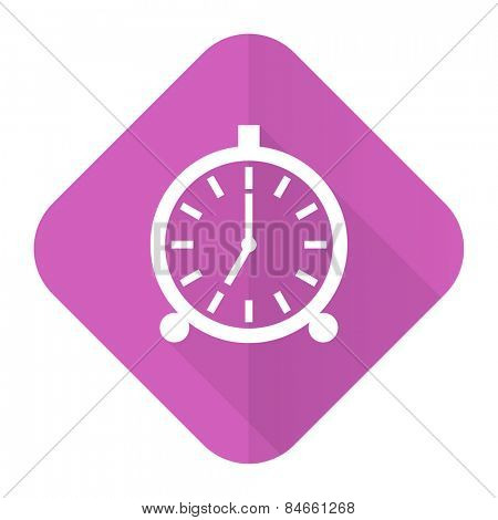 alarm pink flat icon alarm clock sign
