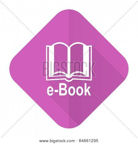book pink flat icon e-book sign