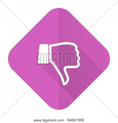 dislike pink flat icon thumb down sign