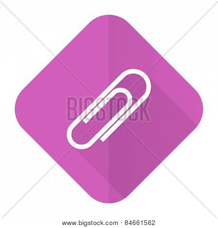 paperclip pink flat icon