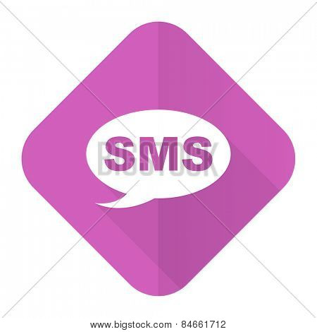 sms pink flat icon message sign
