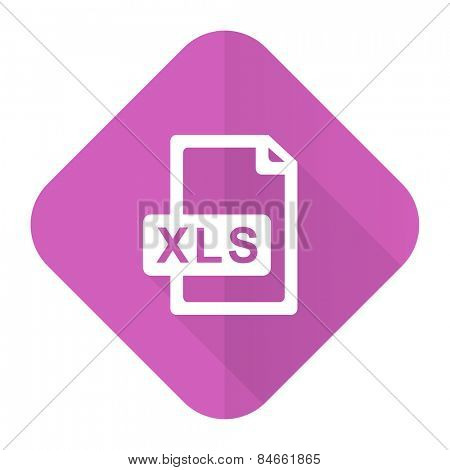 xls file pink flat icon