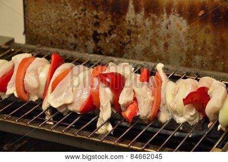 Gallinaceous Shashlik Grilled With Peppers