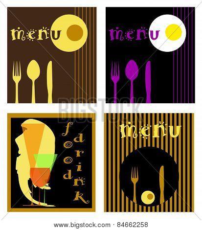 menu set  for restaurants or bars