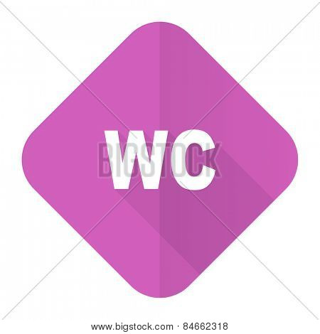 toilet pink flat icon wc sign