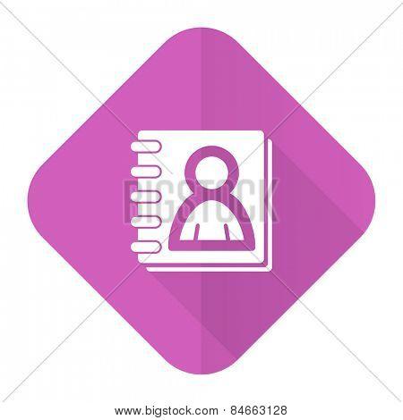 address book pink flat icon