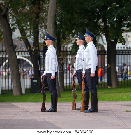 Soldiers Taking Part In Changing Of Honor Guard