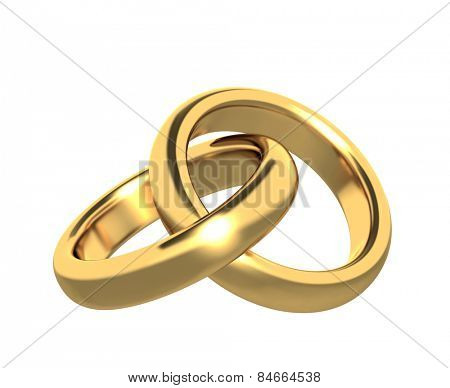 Two 3d gold wedding ring. Objects isolated on white background