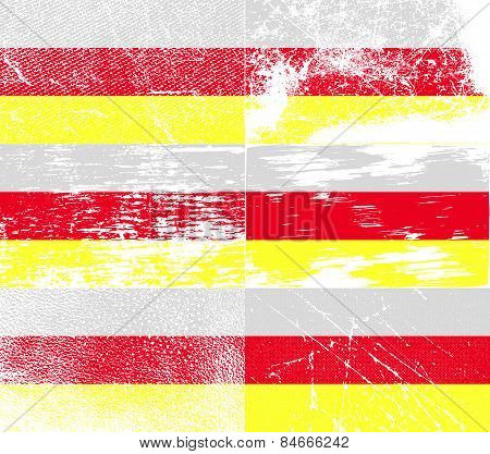 Flag Of North Ossetia With Old Texture. Vector