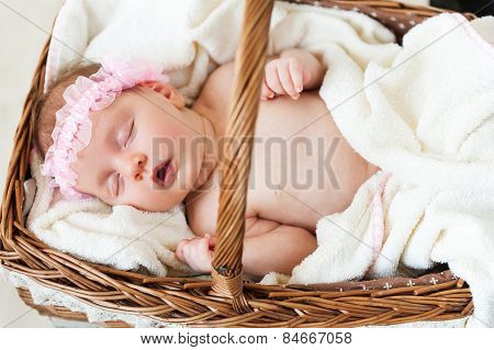 Cute Baby In A Basket.