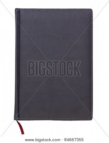 Gray leather notebook isolated on white background