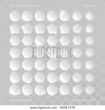 Abstract bokeh defocused lights for defocused background. Vector bokeh guide.