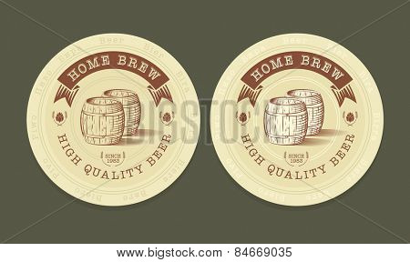 Vector engraved illustration of beer tags