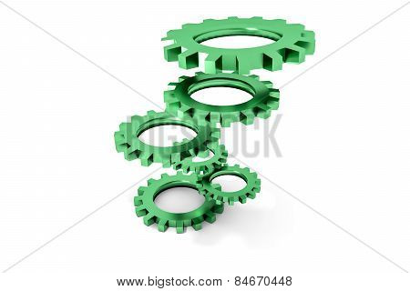 Tower Of Green Colored Metallic Cogwheels Hovering