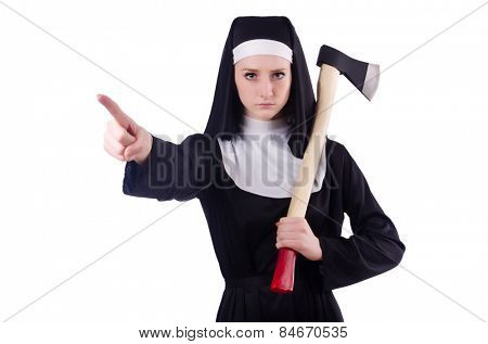 Young nun with axe isolated on white
