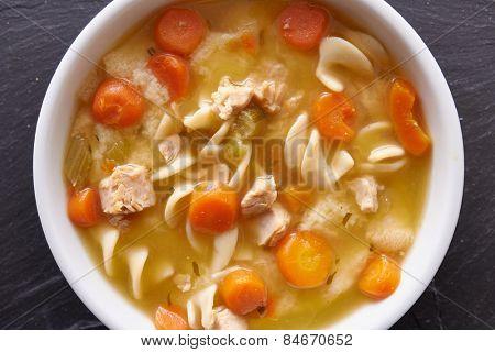 chicken noodle soup top down photo close up
