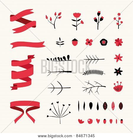 Set Of Floral Decor. Vector Elements Collection With Leafs And Flowers For Greeting Cards, Flyers An