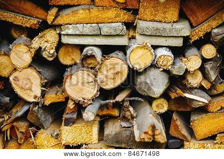 Stack Of Ready Logs. Wood Texture.