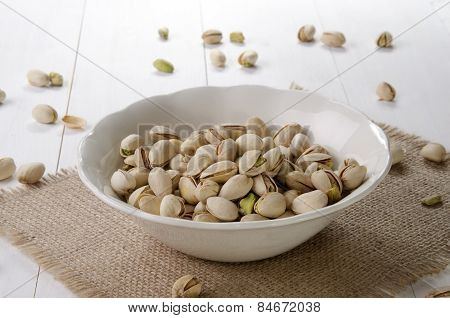 Roasted Pistachio In A White Bowl